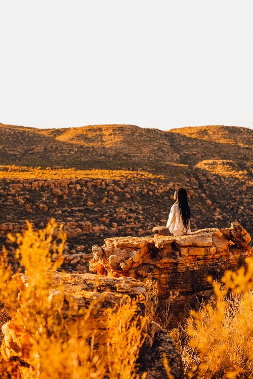 Woman Meditates In The Nature Cederberg